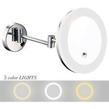 GURUN 8 Inch 10X Magnifying Lighted Makeup Mirror Wall Mounted Acrylic Mirror