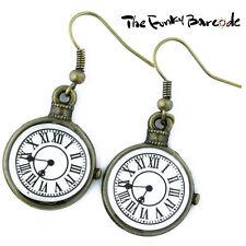 TFB-gran Reloj De Bronce Cara cuelgan pendientes peculiar Kitsch Alice Regalo Gancho Antiguo