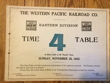 Western Pacific Railroad Eastern Division Emp Time Table #4, 11-25-1923