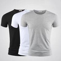 Hot Plain Black Cotton T-Shirt Short Sleeve Solid Blank Design Tee Men Tshirt S