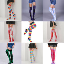 Stockings Womens Girls Plus Size Striped Thigh High Socks Sheer Over The Knee