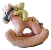 Peepah Pals Pink Plush Musical Wind Up Rocking Horse & Bear Rock A Bye Baby VTG