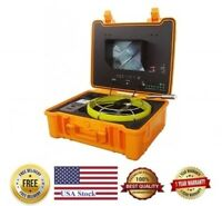 "Sewer Drain Pipe 10"" Color LCD 1"" Inspection Camera 130 Ft Cable 512Hz Sonde USB"