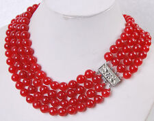 charming! 4Rows 8MM Red Ruby Round Beads Gemstone Necklaces
