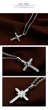 BRAND NEW 18K WHITE GOLD PLATED & GENUINE CLEAR AUSTRIAN CRYSTAL CROSS NECKLACE