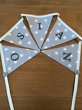 Personalised Unisex Bunting Grey And White Stars Girls Boys Gift