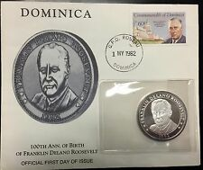 {BJSTAMPS} 1982 FDR .999 silver 100th Anniversary Coin w/ Dominica FDC Envelope