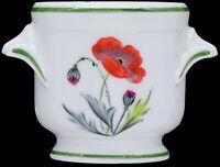 Chamart Limoges France Hand Painted Floral Red/Orange Flower Pot Cachepot Vase