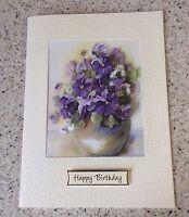 Large A5 Handmade Happy Birthday card 3D decoupage lilac & purple flowers