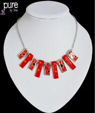 Luxus Statement Kette Noa Paris Halskette Emaille Acryl Versilbert Collier Rote