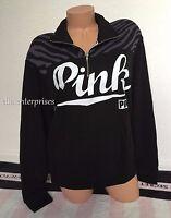 Victoria's Secret Pink Black White Gray Zebra Boyfriend Half Zip Sweater - Small