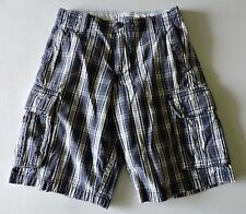 "Aeropostale Men's Cargo Shorts Blue/White Plaid Size 27 -12"" inseam"