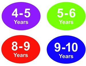 Coloured Baby & Childrens Clothes Size Stickers - Sticky Labels - 9 - 10 Years