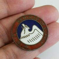 Vtg WWII Sterling Services Of Supply SOS USA Enamel Pin Missing Pin by NS Meyer