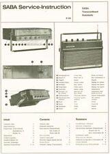 Saba Transcontinent automatic Kofferradio Schaltplan service Original manual