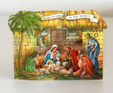 RARE! VINTAGE UNUSED 1940 CHRISTMAS CARD FOLD-OUT POP-UP NATIVITY SCENE~MADE USA