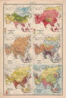 1942 Mapa ~ Asia Muestra Jan & Julio Temperatura Lluvia Población Político