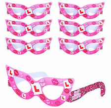 6 Hen Party Glasses - Night Do Pink Set Pack Decoration Costume Head Fancy Dress