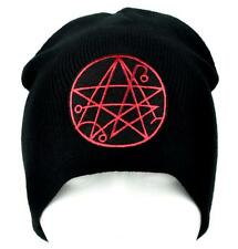 Necronomicon Gate Alchemy Symbol Black Beanie Knit Cap Occult Magic HP Lovecraft