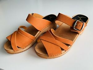 Cape Clogs Sandals Orange Leather Adjustable New In Box Size 41