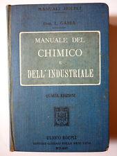 MANUALE DEL CHIMICO E DELL'INDUSTRIALE - L. Gabba - Hoepli 1907 - 4^ edizione