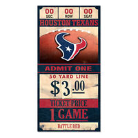Houston Texans Old Game Ticket Holzschild 30 cm NFL Football Wood Sign