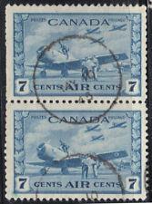Canada: #C8 7c Airmail, Training Plan, Military Black-out Cancel Pair 1945 VFU