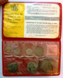 1971 NEW ZEALAND - OFFICIAL MINT UNC SET (7) - ROYAL MINT SEALED in RED WALLET