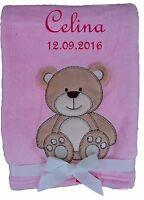 Babydecke rosa Teddy mit Namen bestickt Baby Decke Taufe Geburt Geschenk Name