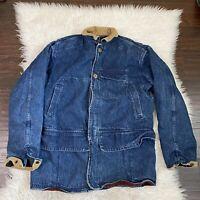 Vintage 80s Polo Ralph Lauren Blanket Lined Denim Hunting Coat Jacket Men's M