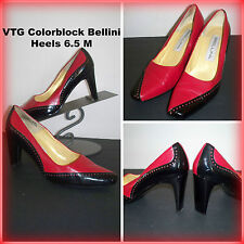 "Vintage Colorblock 80's "" Bellini "" Red with Black Leather Women's Heels sz 6.5"