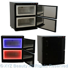 Black 2 Cabinet Hot Towel Warmer UV Sterilizer Sanitizer Beauty Salon Equipment