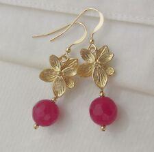 himbeer rote Jade & Azalee Blüte Ohrringe Ohrhänger 585 14K Gold ygf/GF Blume