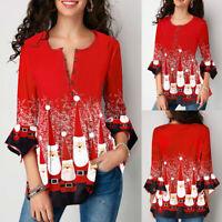 ❤️ Womens Christmas Print 3/4 Sleeve Tunic Tops Ladies Casual Loose Blouse Shirt