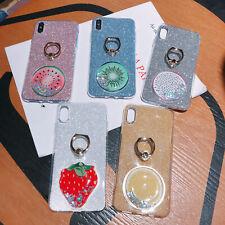 For Xiaomi Mi 9 8 Redmi 7A Soft TPU Fruits Bling Glitter Finger Ring Case Cover