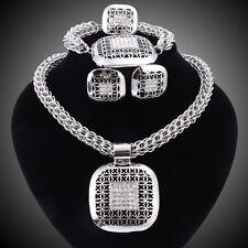 Fashion African Dubai Crystal Jewellery Set Necklace Earrings Ring Bracelet