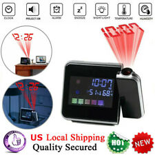 Digital Projection Alarm Clock Tempreture LED Date Time LCD Display Calender USA