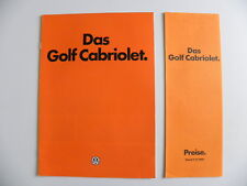 Catalogue / brochure Volkswagen VW DAS GOLF Cabriolet + tarif de 07 / 1980