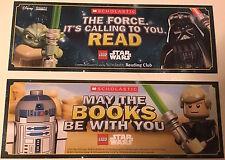 "NEW LEGO STAR WARS 2-Sided Bookmark 2.5""x7"" Yoda Darth Vader R2D2 Luke Skywalker"