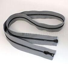 "RiRi Zipper Metal 4, 2 Way Separating End, Gunmetal, Gray 2102, Flach, 29.5"""