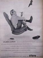 PUBLICITÉ DE PRESSE 1964 SIÈGES CANAPÉS AIRBORNE EN PLEIN CONFORT - ADVERTISING