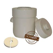 Pot à choucroute en grès pour la lactofermentation 3 litres weiß blanc