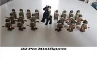 22Pcs Minifigures Army Infantry US-UK Soldiers & Horses Officer Weapons LeGo MOC