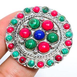 Malachite & Red Turquoise Antique Silver Handmade Tibetan Ring s.Ad F2531