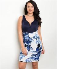 NEW..Stunning Sassy Plus Size Navy & White Floral Print Bodycon Dress.Sz14/1XL