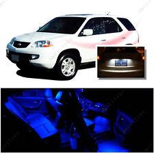 For Acura MDX 2001-2006 Blue LED Interior Kit + Xenon White License Light LED