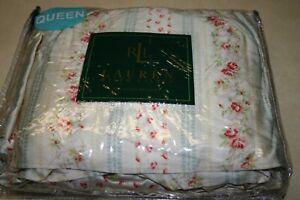 Ralph Lauren HIGHFIELDS Small Floral QUEEN Ruffled BEDSKIRT Rare - New