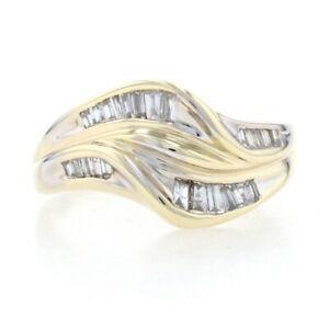 Yellow Gold Diamond Wave Bypass Ring - 10k Baguette Cut .33ctw
