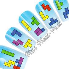 Nail Art Water Transfers Decals Tetris Retro Game Blocks 80s Squares K112