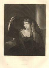 1876 SHAKESPEARE PRINT ~ TWELFTH NIGHT ~ OLIVIA DRESS AND VEIL